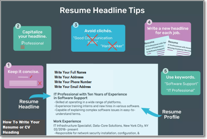 How to write your resume heading for job application