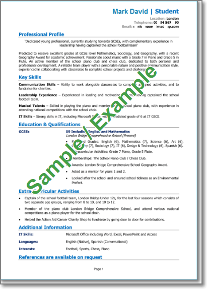 School leaver CV (with no experience)