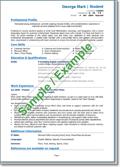 School leaver CV (with part time experience)