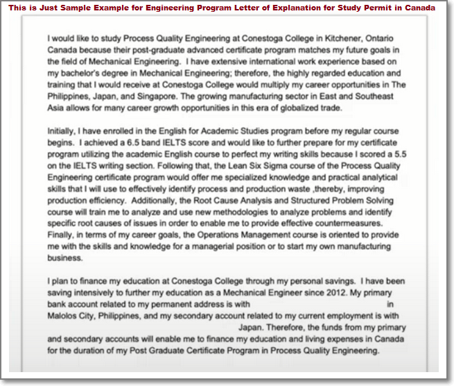 Sample Example for Engineering Program Letter of Explanation for Study Permit in Canada