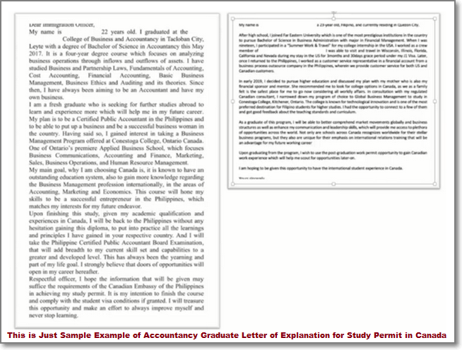 Sample Example of Accountancy Graduate Letter of Explanation for Study Permit in Canada