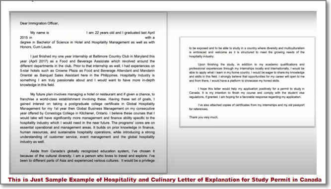 Sample Example of Hospitality and Culinary Letter of Explanation for Study Permit in Canada